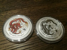 Australia Lunar Series II silver coin dragon 5 oz coloured + 5 oz BU set 2012