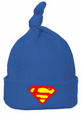 Baby Hat  boy girl blue red superman top knot beanie hat skull cap one size
