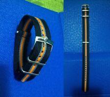 20mm NATO BOND cinturino per orologio nero arancione grigio con fibbia Rolex