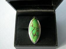 LOT 432 LARGE MARQUISE GREEN COPPER TURQUOISE SOLID STERLING SILVER RING SIZE J