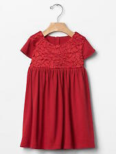 NWT BABY GAP MODERN RED ROSETTE EMBROIDERED JERSEY DRESS 60% COTTON 40% MODAL