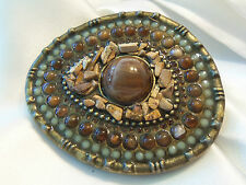 INCREDIBLE Antiqued Gold Shades NATURE Agate STONE & Lucite Belt Buckle 14BB21