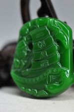 China Exquisite natural green jade hand carved pendant----Sailing