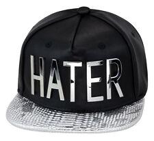 """Hater Snapback Hat Black Leather/Silver Snakeskin/""""HATER"""" strapback"""