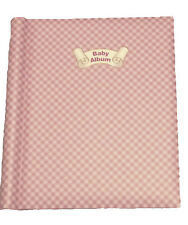 Baby Girl Pink Photo Album Luxury Self Adhesive Large Checked Shabby Chic