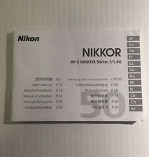 Nikon AF-S Nikkor 50mm f/1.4G Lens - Genuine User Instruction Manual Book