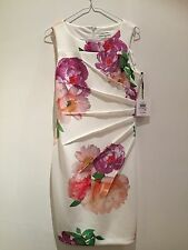 Ladies Flowery Designer Summer Dress Calvin Klein Wedding Party  Size 10 Uk
