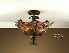 NEW HAND MADE BRONZE WROUGHT IRON CEILING LIGHT FIXTURE RUSTIC TO CHANDELIER