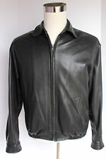 Mens Paul Stuart Golden Bear Black Leather Bomber Jacket Medium USA Lambskin