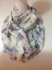 Silk 60% Boho Blue Paisley Infinity Scarf, Zippered Large Discreet Pouch