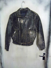 VINTAGE 70'S DISTRESSED WW1 MILITARY STYLE LEATHER MOTORCYCLE JACKET SIZE S