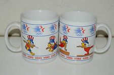 Vintage Papel Eagle USA Olympics Coffee Mug Lot of 2 Von's Grocery Store Promo