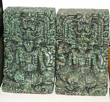 Vintage Zarebski Aztec God Bookends Crushed Green Stone Malachite