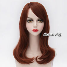 Heat Resistant 45CM Long Anime Cosplay Party Full Reddish Brown Wavy Lolita Wig