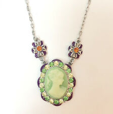 New Vintage Style Cameo Olive Lavender Flower Crystal Charm Chain Necklace N1189