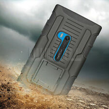 For Nokia Lumia 920 Black Rugged Hybrid Armor Impact Case Hard Cover Holster