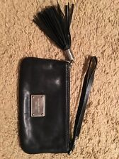 Michael Kors Black Leather Wristlet/Clutch With Tassels...