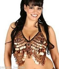 TRIBAL COPPER BRA TOP 4 BELLY DANCE D, DD cup W/ MIRROR MEDALLION, COINS, GYPSY