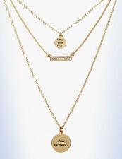 """BCBGeneration Gold-Tone Wanderlust 3 CHARM """"Follow Your Heart"""" Layering Necklace"""