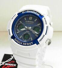 New Casio G-Shock Solar Multi-Band Atomic White and Blue Watch AWG-M100SWB-7A