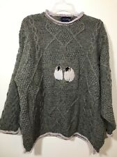 Oversized Boyfriend Sweater Women Sz M Will Fit L Sheep Ram Cable Textured Green