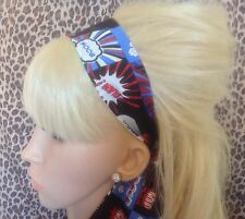 BLACK COMIC STRIP WORD KITSCH NOVELTY HEAD SCARF HAIR BAND SELF TIE BOW RETRO