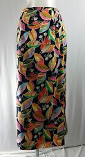 TALBOTS 16 Petite Hawaiian Floral Multi-Colored Long Baby Corduroy Skirt A-Line