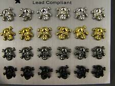 Set pack of 12 pair all entirely plastic skull bones stud post earrings no metal