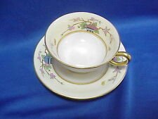 Lenox Cup and Saucer Made in U.S.A. MANDARIN P-1 Japanese Flower Pattern WHITE