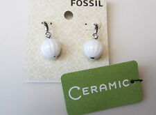 Fossil Sterling Silver Dangle Wire Ceramic Bead Earrings with Rhinestone $80 NWT