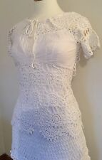 Vintage White Karen Millen Bohemian Hippie Crochet Skirt Top Wedding Size 10-12