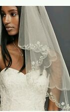David's Bridal Fingertip 2-Tier Veil w/ Scallop Edge, 689, Champagne ($189)