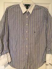 Lauren Ralph Lauren 100% Cotton Women's Striped Long Sleeve Dress Shirt Sz 10
