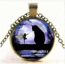 DIY Vintage Black Cat and Fairy Cabochon Glass Bronze Chain Pendant Necklace#1