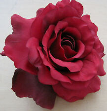 "5"" Red Rose Silk Flower Hair Clip,Wedding,Prom,Party,Dance,Rockabilly,Bridal"