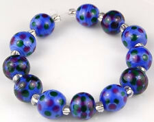 HANDMADE LAMPWORK BEADS Blue Purple Green Polka Dot
