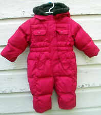 Baby Gap Girls Pink Fleece Lined Hooded Down Puffer Snow Suit Bunting 6-12 Month
