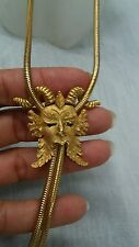 Stunning statement vtg crown Trifari monster gold tone bolo style  necklace