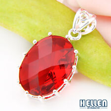 Wedding Party Jewlery Oval Fire Red Garnet Gems Silver Necklace Pendant 1""