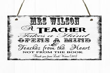 Personalised Teacher Quote Sign Plaque Gift Present Thank You School Heart