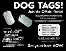 "MILITARY PERSONALISED ARMY DOG TAGS 26"" CHAIN & SILENCERS EMBOSSED"