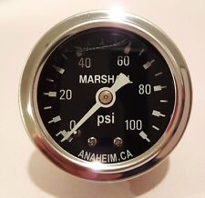 "Marshall Gauge 0-100 Psi Fuel / Oil Pressure Black 1.5"" Diameter Liquid Filled"