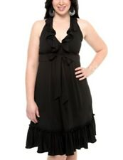 NWT $54 TORRID Sz 3 Ruffle Halter Stretch Knit Dress Womens 3X Black Plus Bow