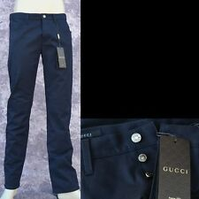 GUCCI New sz 46 - 30 Mens Authentic Designer Logo Chino Jeans Pants navy blue