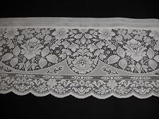 "NEW ONE FANCY LACE CROCHET VALANCE WHITE FLORAL SWAG SCALLOP 60"" x 16"" FREE SHIP"