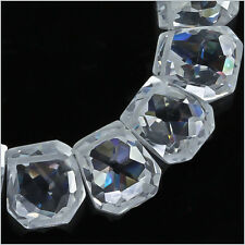 10 Cubic Zirconia Hand Cut Freeform Nugget Beads ap. 13mm Clear #96035