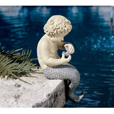 Enchanting Little Merman Ocean Boy Statue Pool Home Spa Sculpture