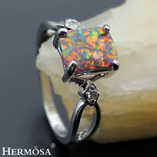 Christmas Special Offer .Real Orange Fire Opal 925 Sterling Silver Ring Sz 7