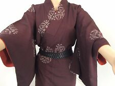 Authentic Japanese wine red kimono for women, Japan import, extra small (M857)