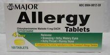 Major Allergy Chlorpheniramine Maleate 4mg 100 Tablets